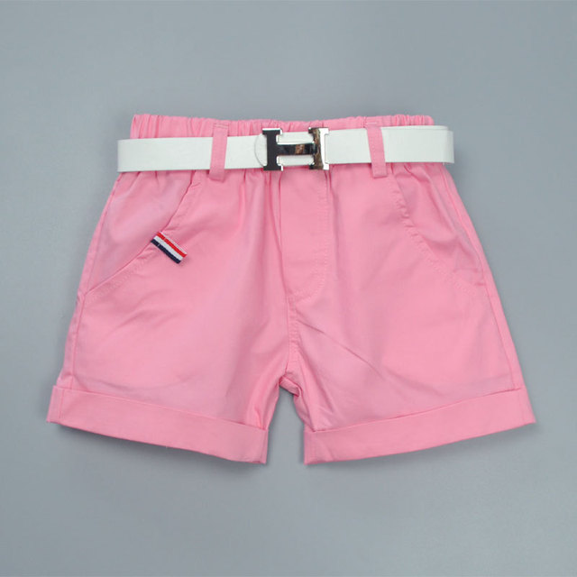 R&Z Children's Set 2019 Summer New Boy Gentleman Set Children's Print Sleeveless Shirt Pink Shorts Belt Three-piece