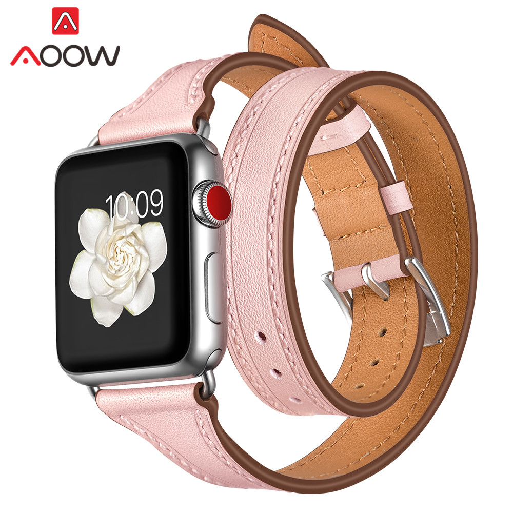 Genuine Leather Watchband For Apple Watch 38mm 42mm 40 44 Women Double Circle Pink Black Bracelet Strap Band For Iwatch 1 2 3 4