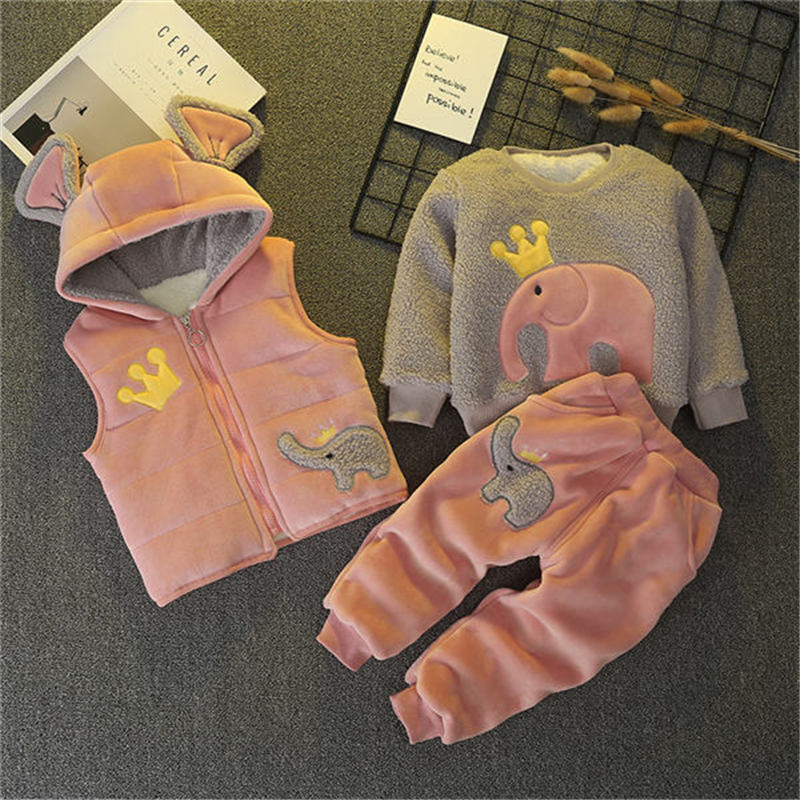 BibiCola girls winter warm clothing sets kids autumn casual thick velvet sports suits 3pcs for baby boys children clothes suits