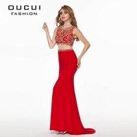 Foto reali di Alta Qualità di Colore Rosso Lungo Prom Dress vestido de festa Crop Top OL102778