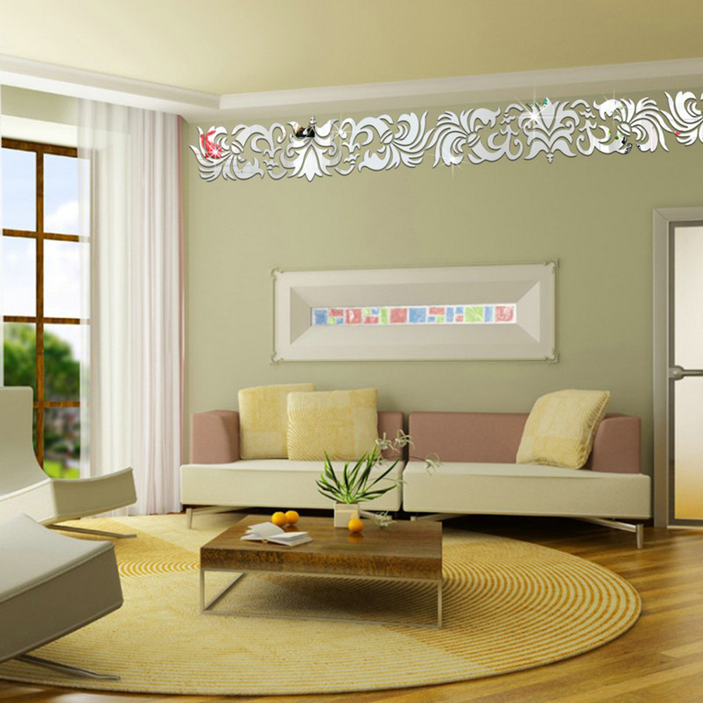 Mirror Wall Decor For Living Room Europe Creative Fashion Acrylic Mirror Wall Sticker Diy Wall Decor