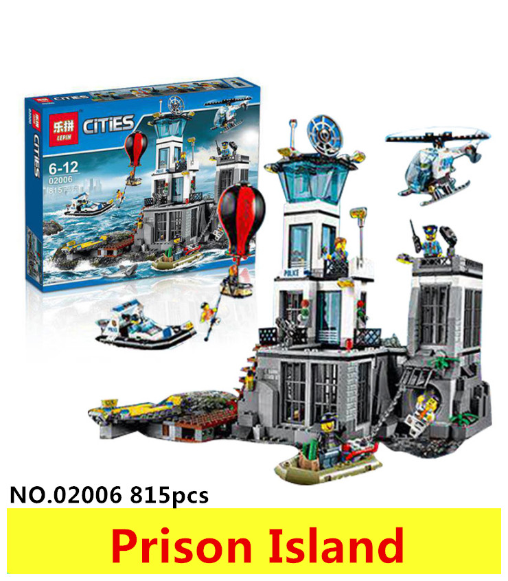 Models building toy 02006 815pcs Building Blocks Compatible with lego 60130 City Series The Prison Island toys & hobbies gift lepin 02006 815pcs city police series the prison island set building blocks bricks educational toys for children gift legoings