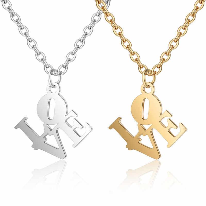Стильное простое ожерелье из нержавеющей стали с надписью love Очаровательное
