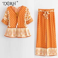 TXJRH 2019 Vintage Ethnic Boho Orange Sun Floral Print Shirt Lacing up Tied Bow Tassel V-Neck Pullover Short Sleeve Blouse Tops