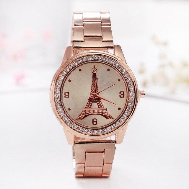 5b0008f37 Relogios Femininos Ladies Stainless Steel Rhinestone Dress Quartz-Watch  Fashion Eiffel Tower rose Women Watches