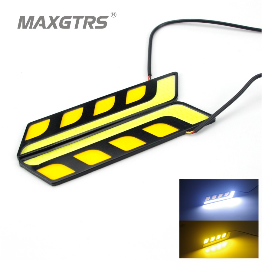2pcs lot newest waterproof white yellow car head light cob led daytime running lights drl fog. Black Bedroom Furniture Sets. Home Design Ideas