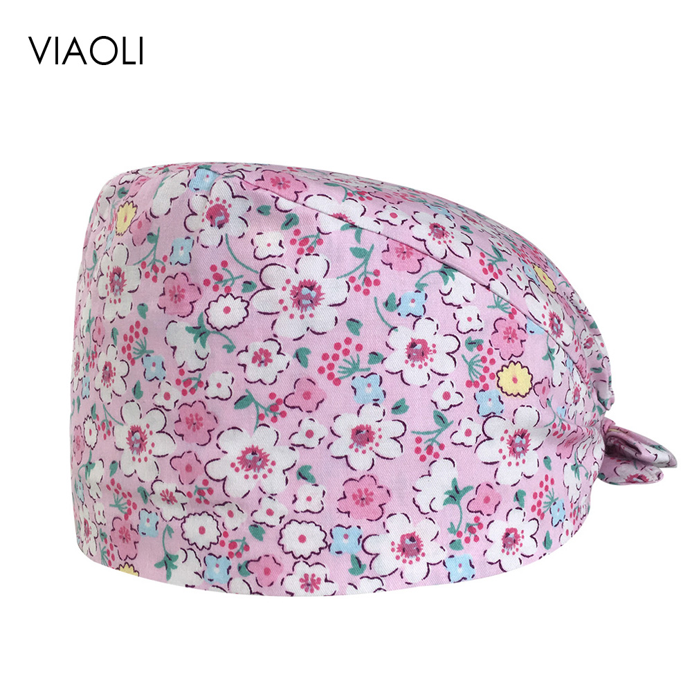 Male And Female Doctor Hat Cotton Printing Breathable Medical Surgery Hat Operating Room Laboratory Baotou Caps Beauty Care Caps