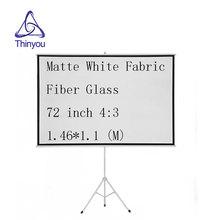 Thinyou 72 Inch 4 3 font b projector b font screen Matte White Fabric Fiber Glass