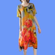 Women Fake Silk Dress High Quality 2019 Summer Plus Size Midi Dresses Elegant Vintage Print Floral Robe Orange Fashion Clothing цена и фото