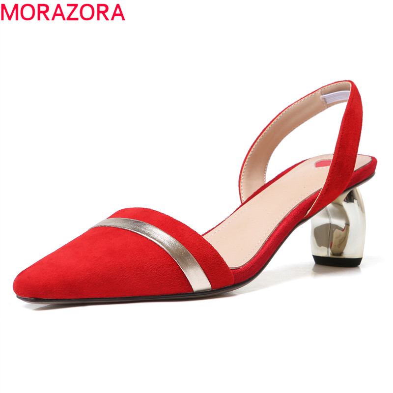MORAZORA 2019 <font><b>hot</b></font> <font><b>sale</b></font> <font><b>women</b></font> sandals suede leather shoes pointed toe <font><b>summer</b></font> shoes slingback <font><b>sexy</b></font> dress shoes lady office shoes image