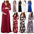 2019 женское платье для беременных с v-образным вырезом и длинными рукавами, Платье макси с цветочным принтом для беременных moda gestante maternidad ropa ...