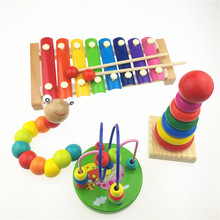 4 in 1 New Baby children hand knocking small Piano Rainbow Tower Around beads Musical instrument piano educational toys