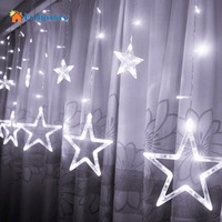 LumiParty 2M Romantic Fairy Star Led Curtain String Light Warm White EU220V Xmas Garland Light For