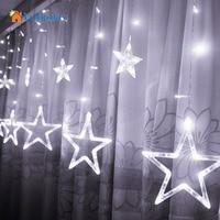 LumiParty Led 2M Romantic Fairy Star Curtain String Light Warm White EU220V Xmas Garland Light For