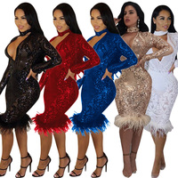 NEW Sequin Dress 2018 Sexy Paillette Women Choker Neck Long Sleeve V Neck Slim Lady See