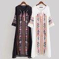 Mulheres Do Vintage Floral Bordado Ethenic Vestidos vestido Em Torno Do Pescoço de Manga Comprida Casual Vestido Longo Maxi robe longue NRY8937 jurk
