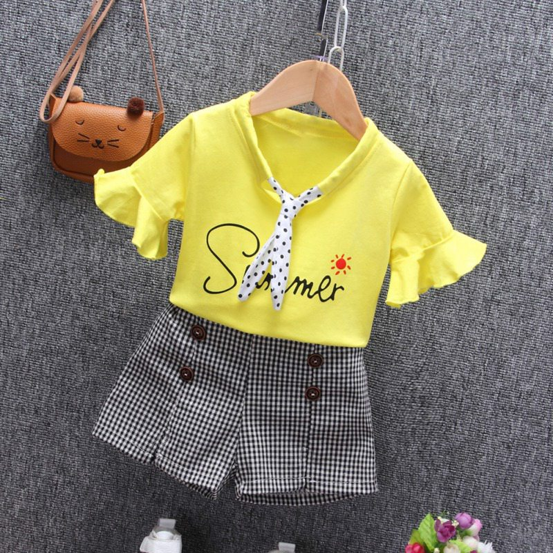 Summer Children Clothes for Girls 2pcs Casual Flare Sleeve Tops Letter Print T shirt Shorts Suits Costume Set in Clothing Sets from Mother Kids