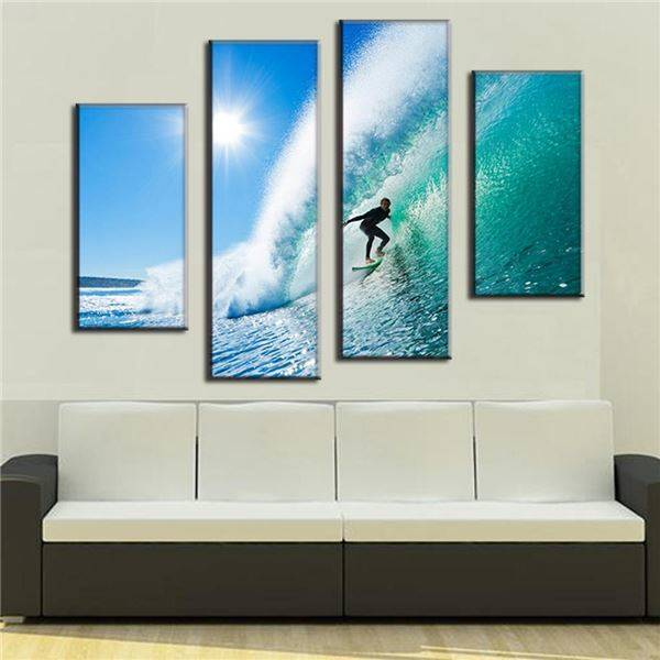 4 Pcs Set Modern Seascape Canvas Prints Surfing In Hawaii Wall Paintings Pictures For Living Room Art Picture 34099 J Painting Calligraphy