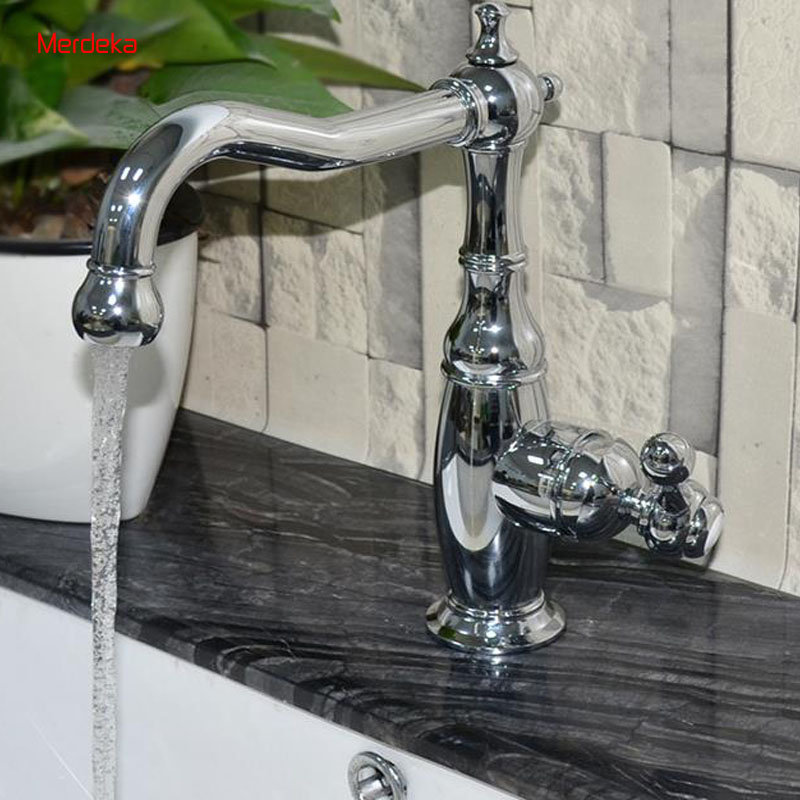 Vessal Sink Brass Kitchen Faucet Bathroom Mixer Sink Faucet Hot Cold Water Control For Bathroom Kitchen