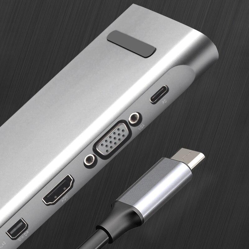 Adaptateur répartiteur de moyeu de Type C HDMI VGA Multi Ports USB 3.0 haute vitesse pour ordinateur portable LCC77