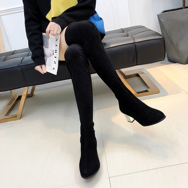Size 35-43 Winter Over The Knee Boots Women Stretch Fabric Women Thigh High Sexy Woman Shoes Long Bota Feminina 2