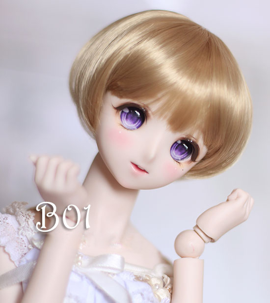 BJD doll wigs golden High-temperature wire Bob head short wigs for 1/3 1/4 BJD DD SD doll wigs beioufeng 1 8 bjd sd doll wigs for dolls high temperature wire short wigs straight synthetic doll hair for dolls accessories