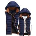 Invierno nueva Casual Hombres Chaleco con capucha gruesa Warm Cotton padded parejas Chaleco De alta calidad De 4 tamaños Chaleco De Los Hombres