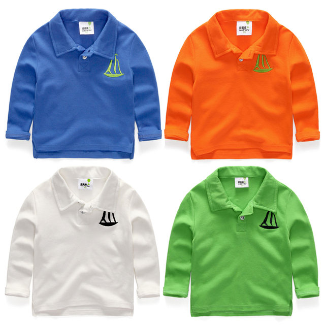 Baby polo shirts long-sleeve 2017 spring and autumn boy child turn-down collar solid color child 100% cotton casual boys shirts