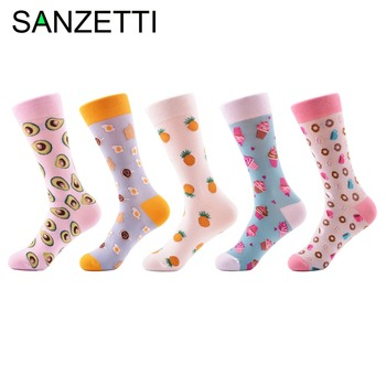 SANZETTI 5 pairs/lot Women's Funny Colorful Combed Cotton Socks Donut Ice Cream Oil Painting Ankle Socks Novelty Wedding Gifts