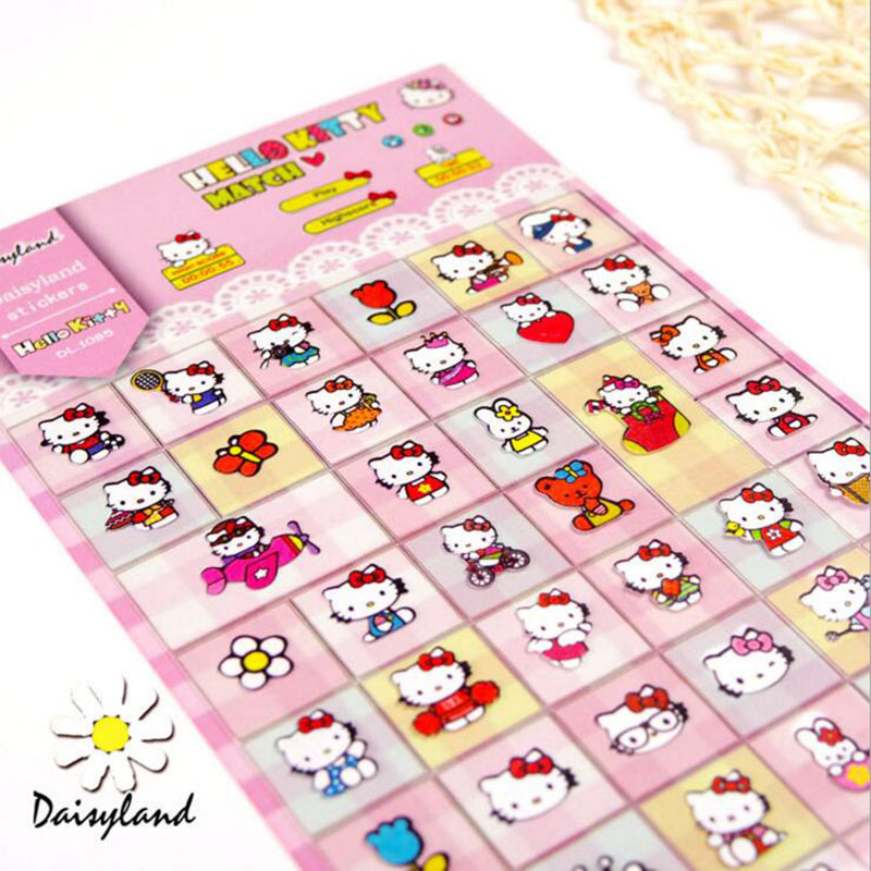 C13 Kawaii Cute Hello Kitty Adhesive Sticker Phone Bottle Album Scrapbooking Decor Stick Label Student Stationery DIY Craft