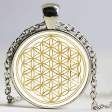 1pcs/lot Fashion Mandala FLOWER OF LIFE – gold Classic Round pendant glass cabochon necklace Fine Jewelry HZ1