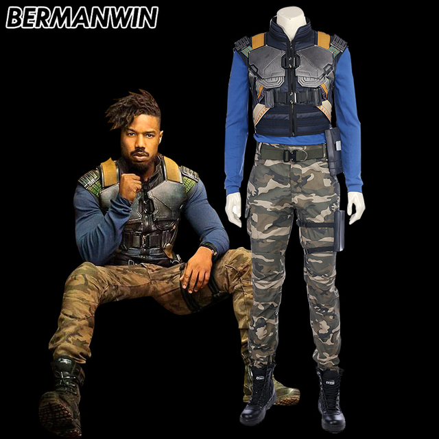 BERMANWIN High Quality Movie Black Panther Costume Erik Killmonger Cosplay Costume Halloween Costumes For Men Full  sc 1 st  AliExpress.com & BERMANWIN High Quality Movie Black Panther Costume Erik Killmonger ...