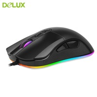 Delux Original Wired Mouse One Piece Optical Positioning Gaming Mouse With Special Mesh Pattern And RGB