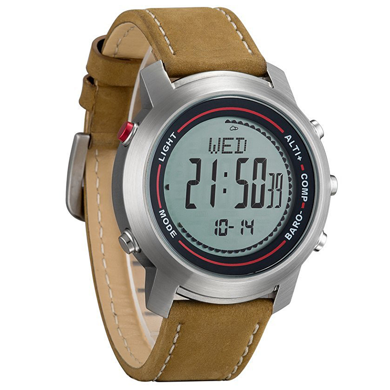 Montres numériques d'extérieur Spovan avec bracelet en cuir MG-01 montre de sport avec boussole baromètre Altimete