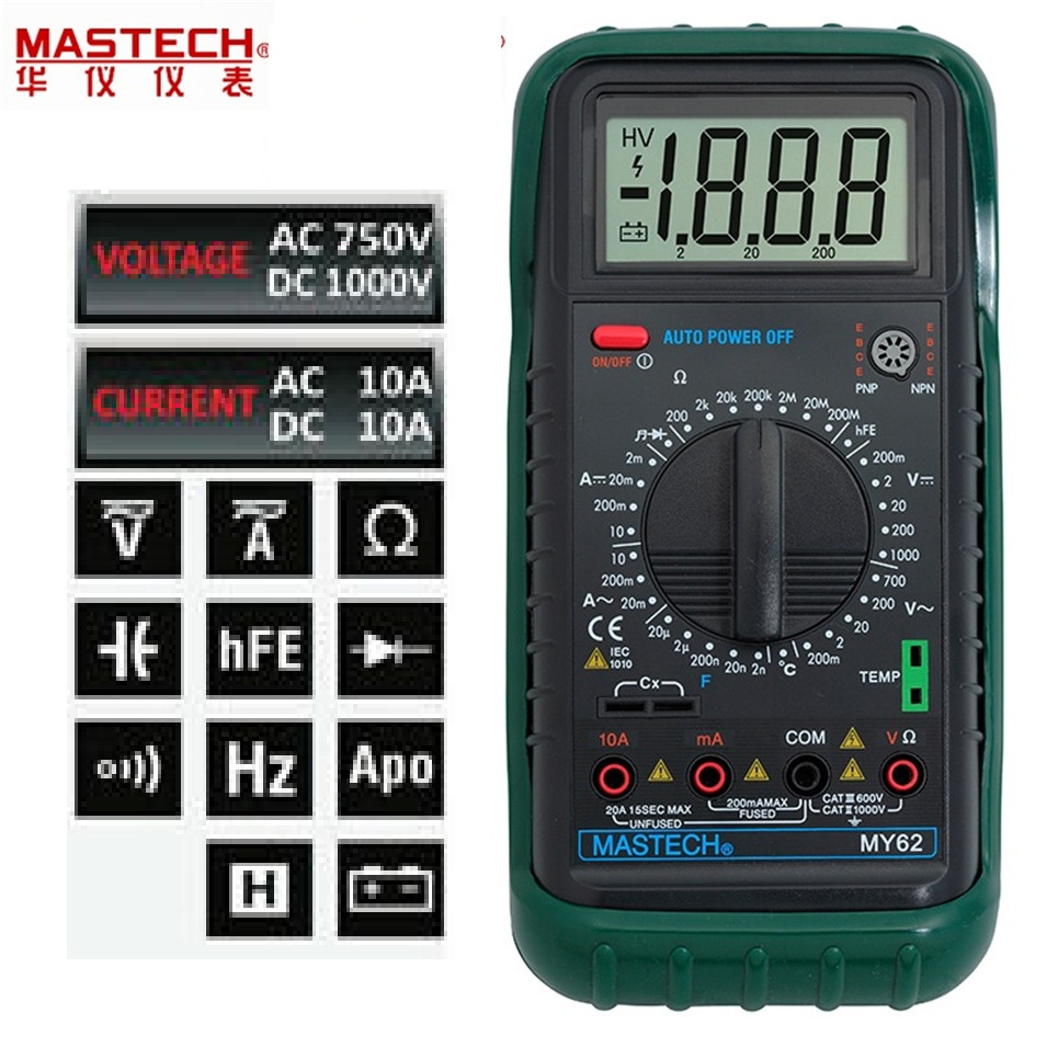 2017 1pcs MASTECH MY62 Handheld Digital Multimeter DMM w/Temperature Capacitance & hFE Test Testers Meters Free Shipping  цены