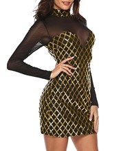 Black Gold Sequin Dress Long Sleeve Sequined Bodycon Plaid Cocktail Club Sheath Slim Ladies Dresses