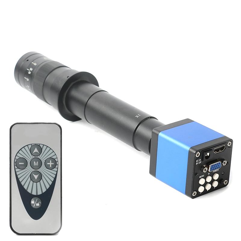 14MP 1080P Digital Video HDMI Microscope Camera +130X/180X/300X C mount lens for PCB Soldering Repair Dual display output