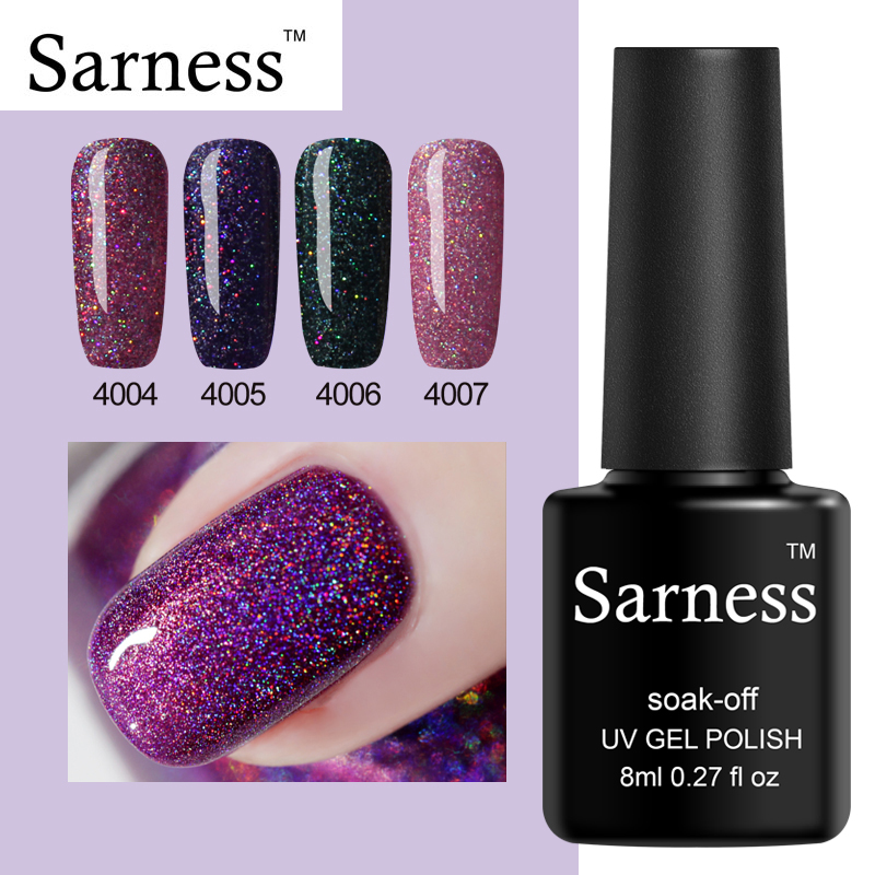 Glitter Nail Polish Rainbow: Sarness Rainbow Sequin 8ml Gel Nail Lacquers For Sale