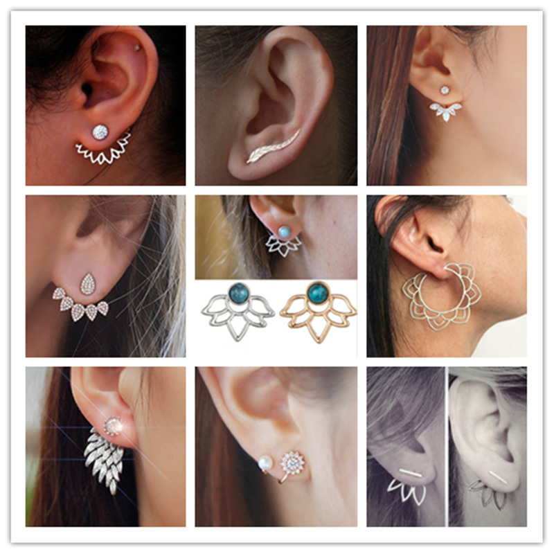 2019 NEW Charm Crystal Flower Earrings For Women Fashion Jewelry Double Sided Gold Silver Earrings Gift For Party Best Friend