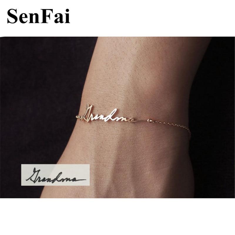 Senfai Custom Name font b Bracelets b font Personalized For Women Men Rose font b Gold