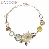 Lacoogh Graceful Imitation Pearls Flower Statement Chokers Necklace Gold Plated Resin Gems Necklaces Pendants Women Collares