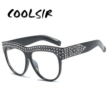 COOLSIR Glitter Rhinestone Sunglasses Square Women Luxury Diamond Clear Lens Glasses UV400 Fashion Shades Brand