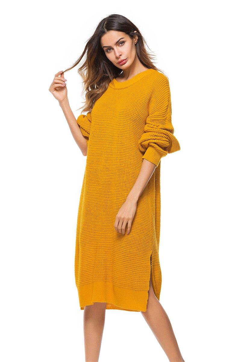 Fall Winter Vintage Mustard Side Slit Crochet Sweater Dress for Women Cute Ladies Retro Cosy Loose Split Pullover One Size 23