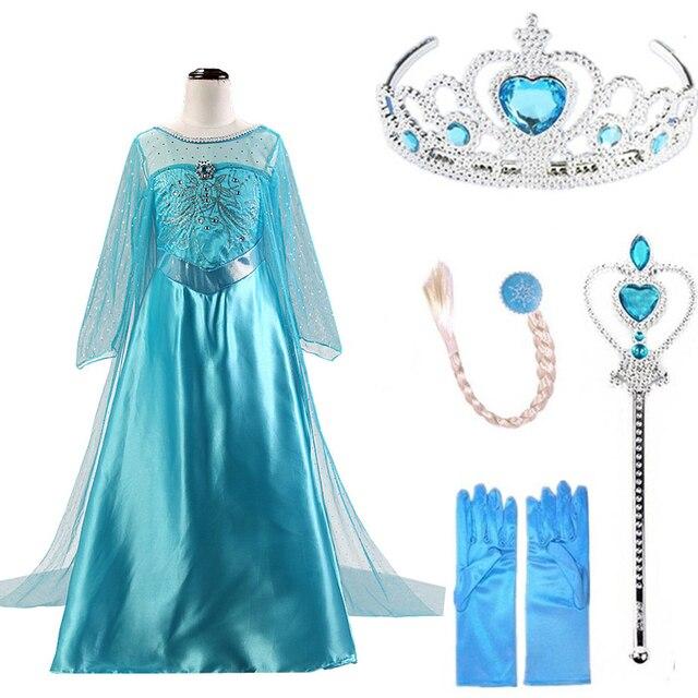 2019 Платья эльза для девочек принцесса Анна Эльза костюмы вечерние Косплэй Elza Vestidos принадлежности для волос комплект Одежда для девочек