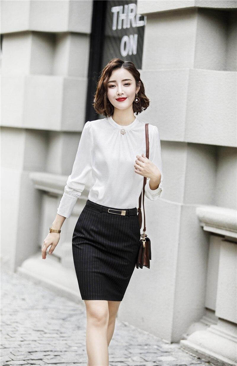 2019 Mode-stile Elegante Weiß Formale Business Anzüge Mit 2 Stück Tops Und Rock Damen Büroarbeit Tragen Blusen & Shirts Set Ausgezeichnete (In) QualitäT