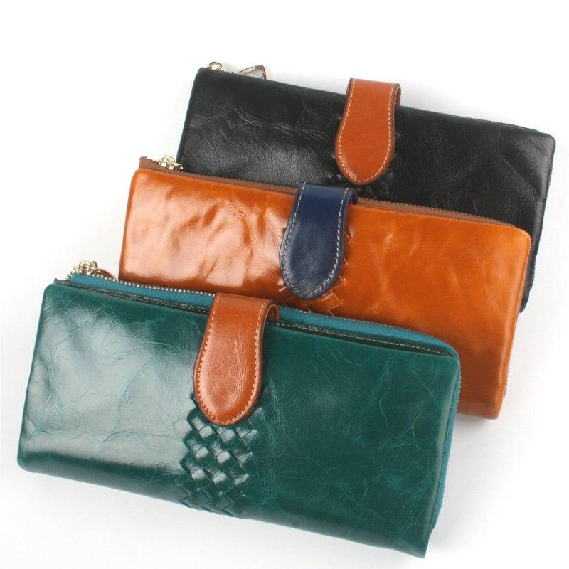 ФОТО NEW Ladies Women Wallets Genuine Leather Vintage Long Ladies Leather Wallets Credit Cards Money Bag Zipper Phone Wallet Female