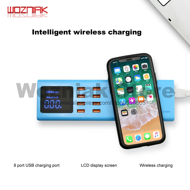 SS-309WD For Iphone Ipad Intelligent Wireless Charging Panel 8 USB Power Charging Port Multi-function Universal Charging Socket