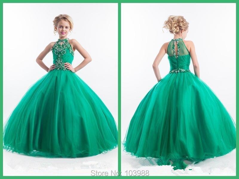 Cheap 2016 Little Girls Pageant Dresses High Neck Green Long Beads