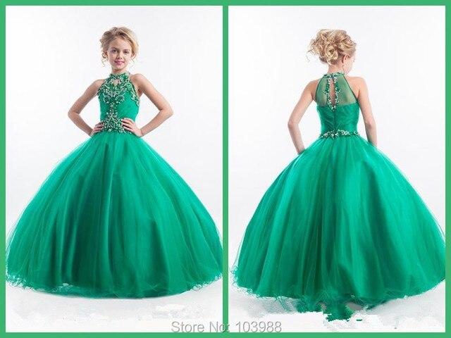 Cheap 2016 Little Girls Pageant Dresses High Neck Green Long Beads ...