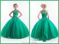 Cheap 2016 Little Girls Pageant Dresses High Neck Green Long Beads Kids Flower Girl Ball Gowns Prom Party Dress For Girls